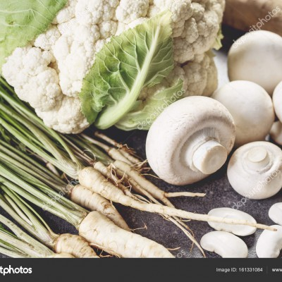 White vegetables on the desk